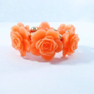 Peach Resin Large Roses Stretch Bracelet